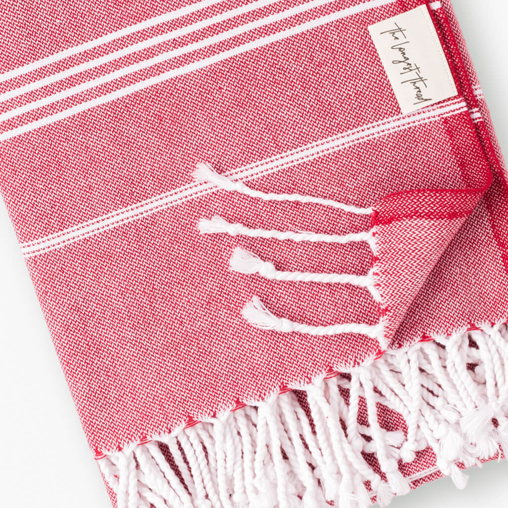 Basic Red Turkish Towel Image 2