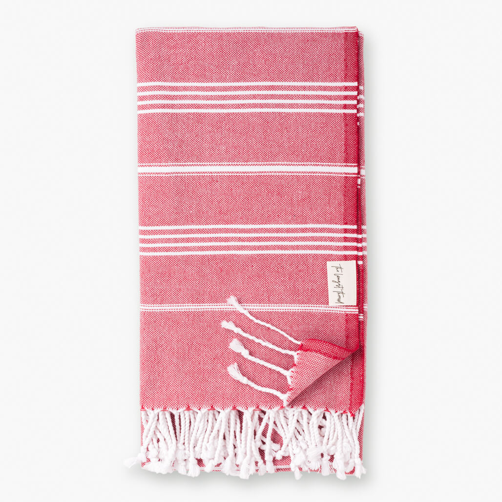 Basic Red Turkish Towel Image 1