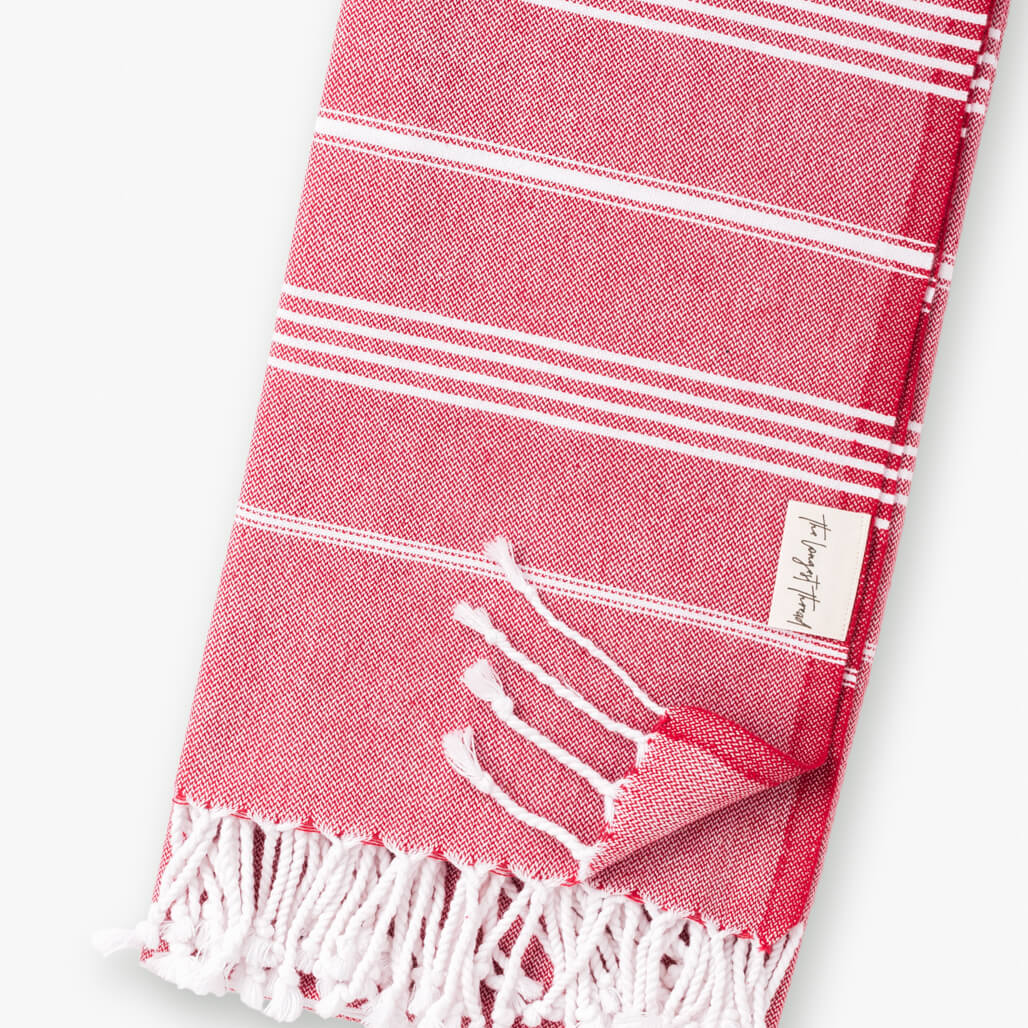 Basic Red Turkish Towel Image 3