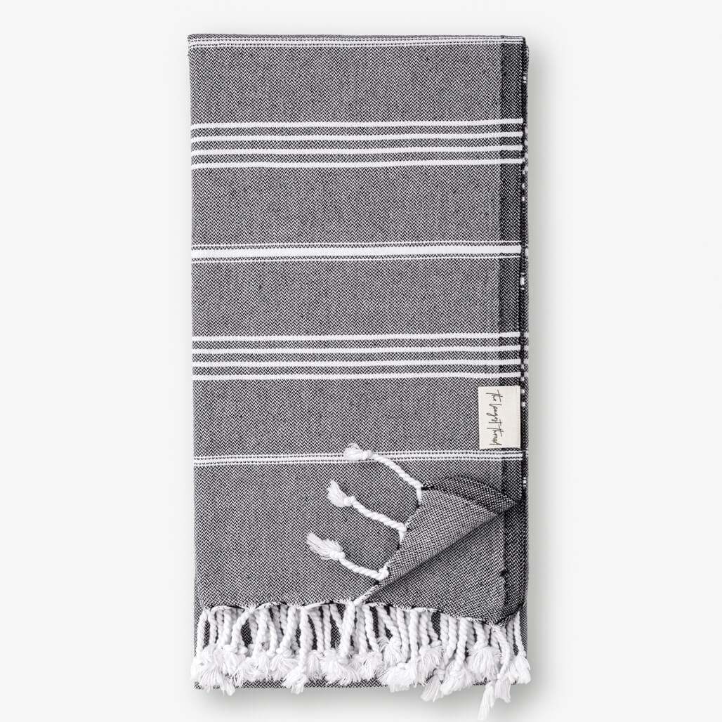Basic Black Turkish Towel Image 1