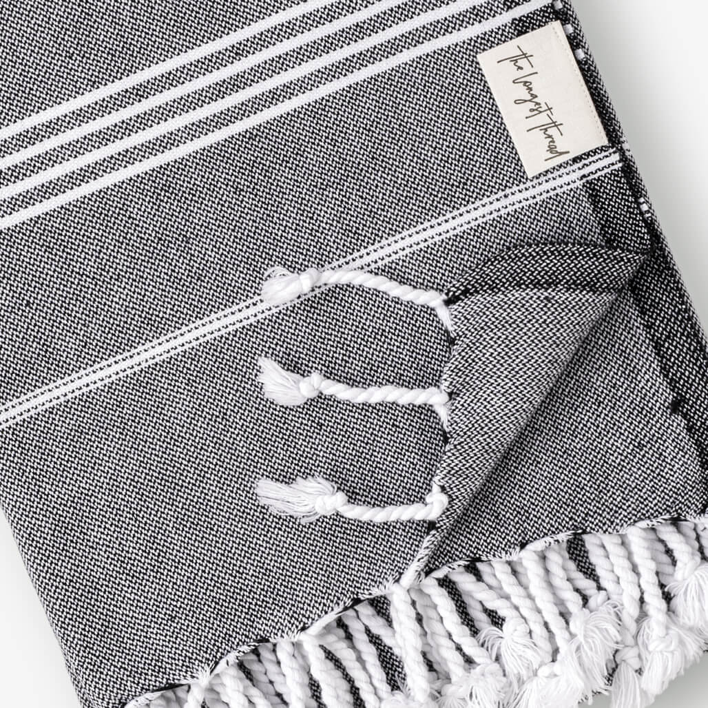 Basic Black Turkish Towel Image 3