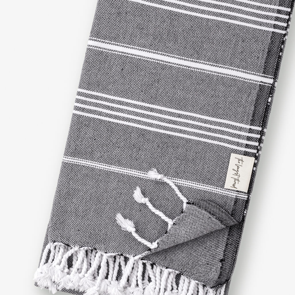 Basic Black Turkish Towel Image 2