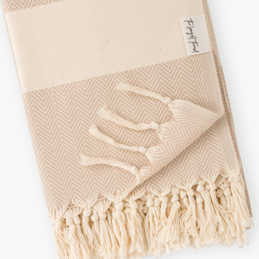 Herringbone Beige Turkish Towel