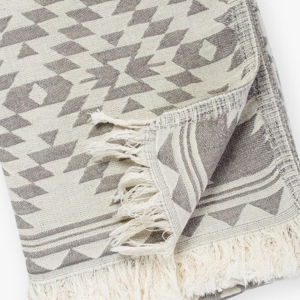 Kilim Dark Gray Turkish Towel Image 3