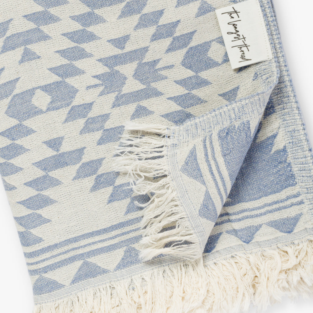 Kilim Denim Turkish Towel Image 3