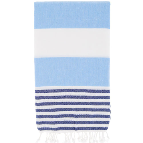 Nautical Turkish Towel, Sky Blue and Navy