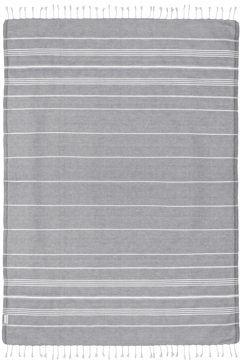 Oversized Basic Dark Gray Turkish Towel - Beach Towel for Two