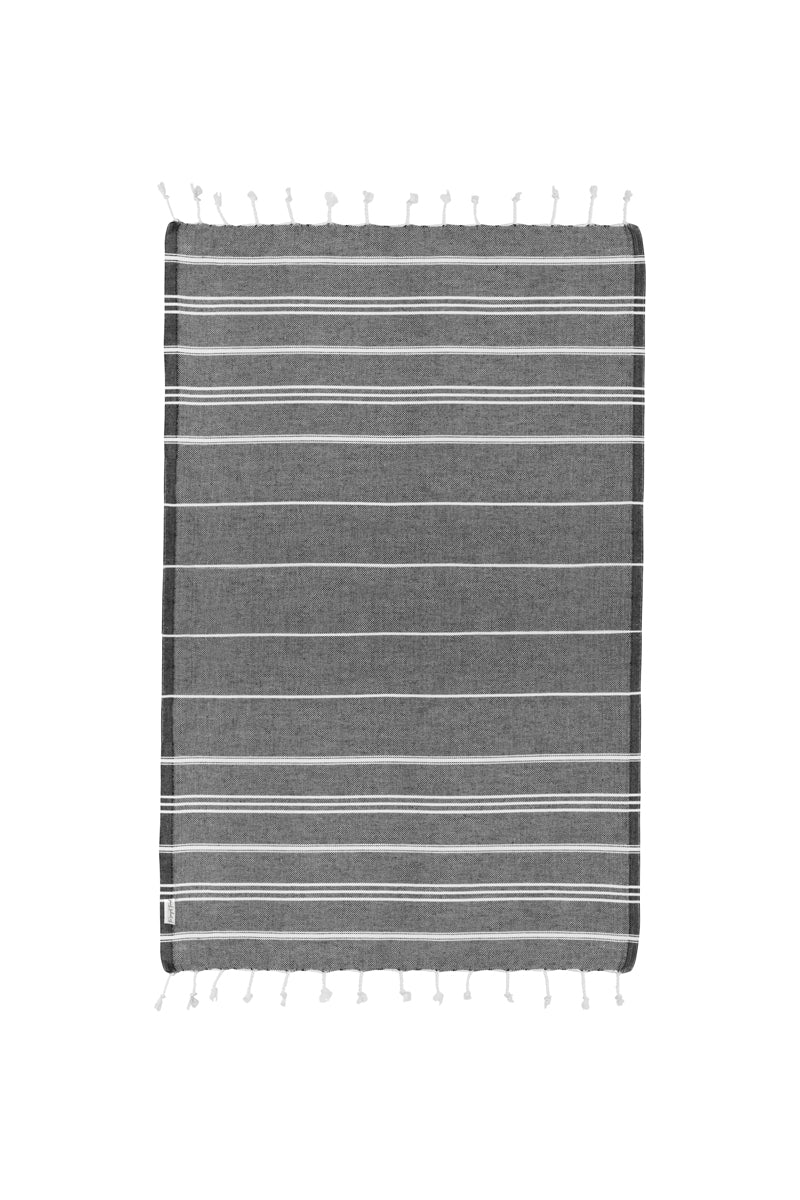 Basic Black Turkish Hand Towel Image 3