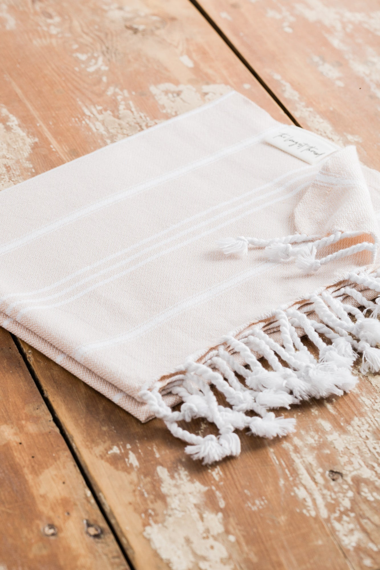 Basic Beige Turkish Hand Towel Image 3