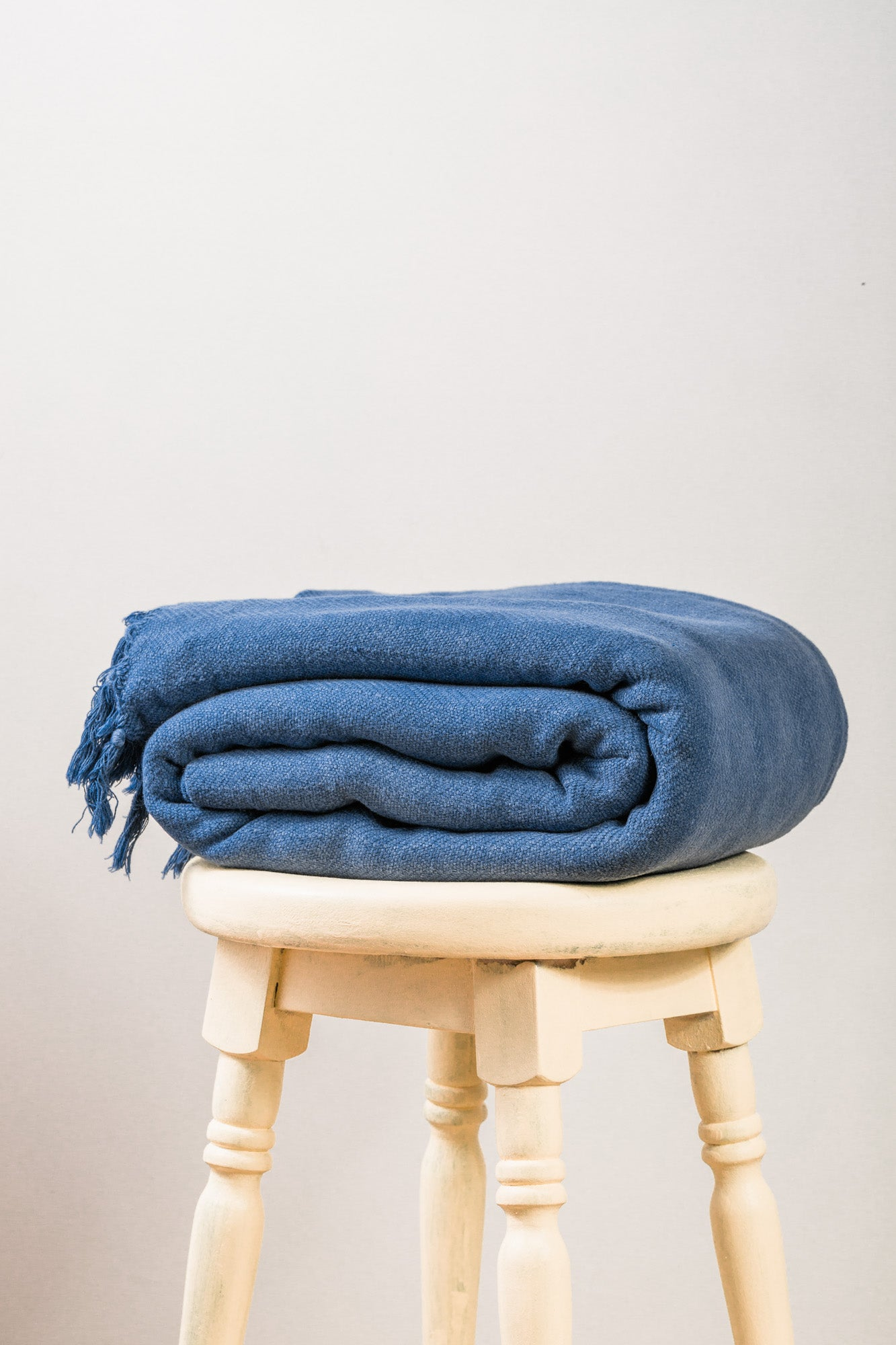 Stone Washed Herringbone Navy Throw Blanket