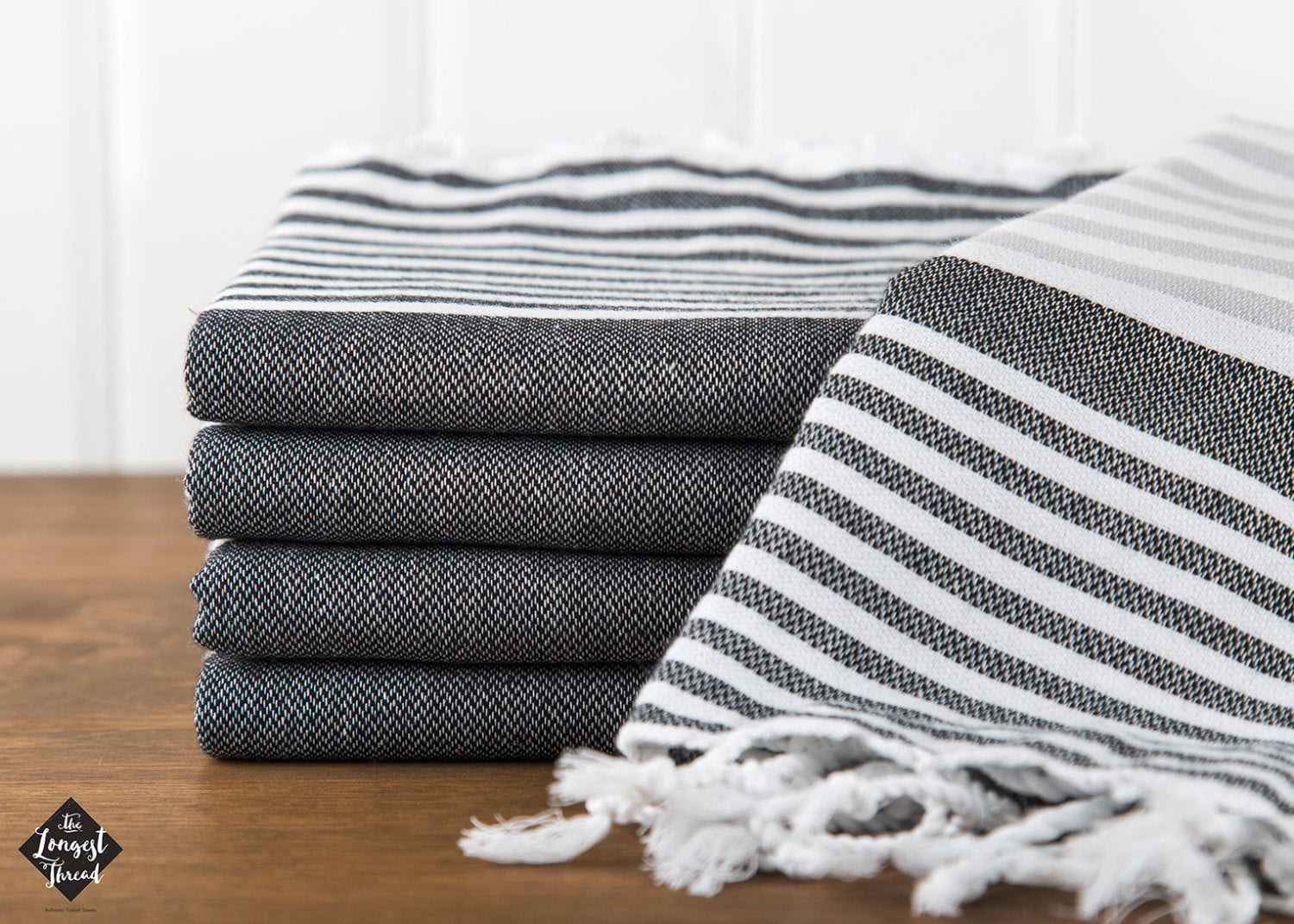 Reef Black/Gray Turkish Towel Image 4