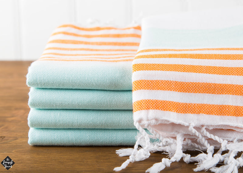 Nautical Orange/Mint Turkish Towel