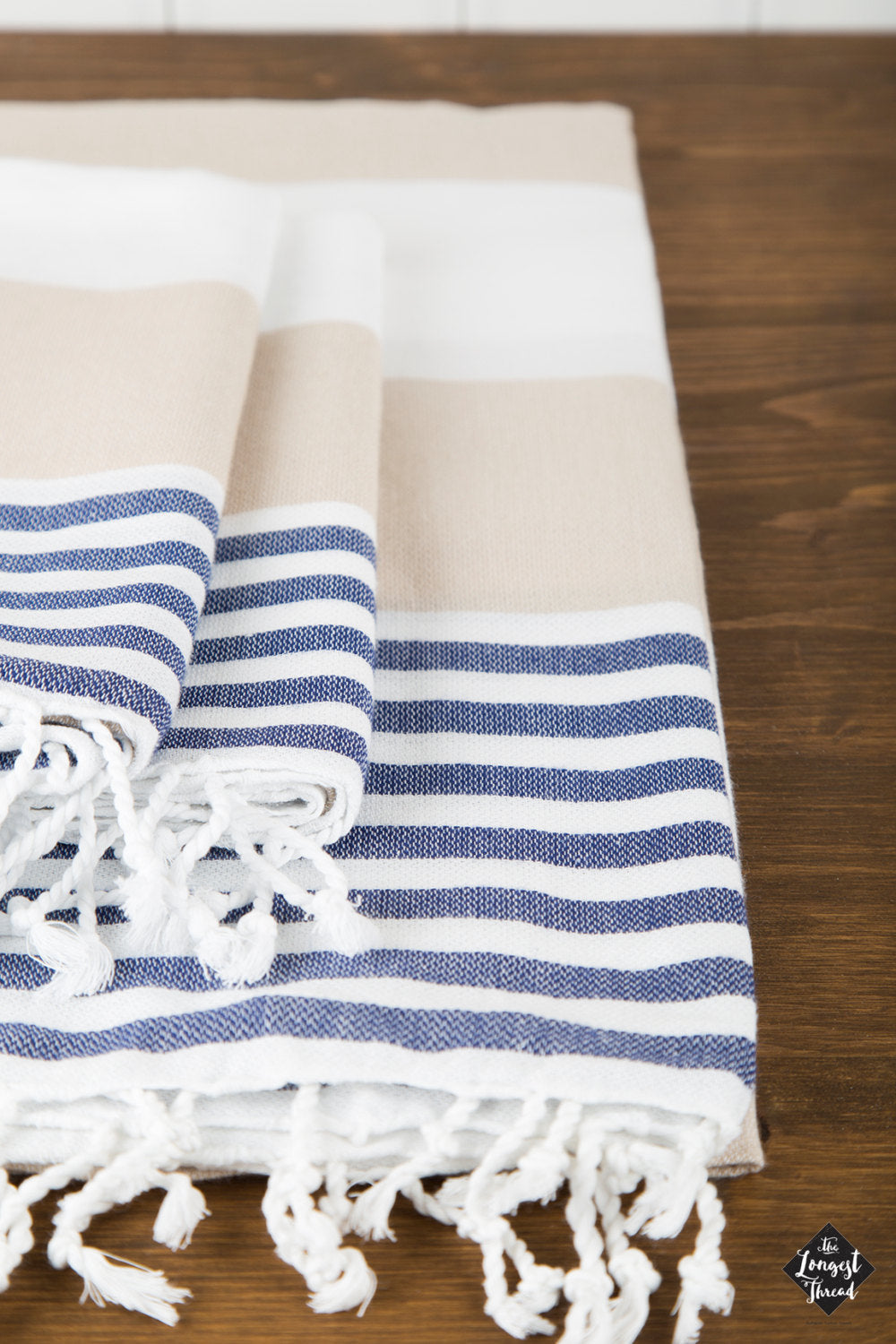 Nautical Navy/Beige Turkish Towel