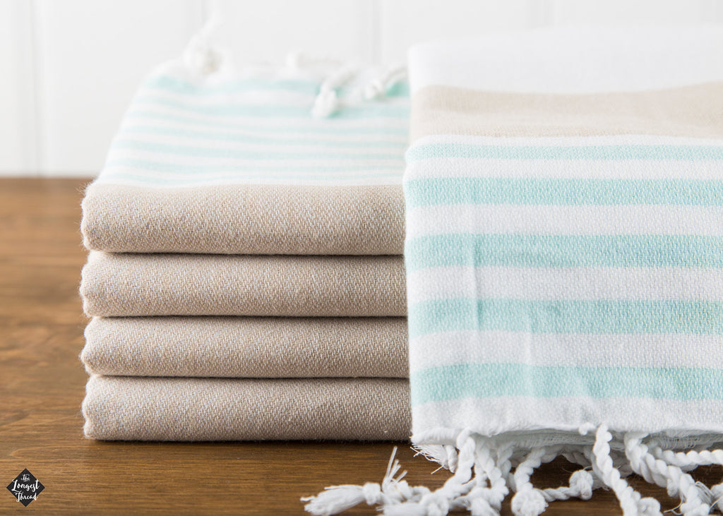 Nautical Mint/Beige Turkish Towel