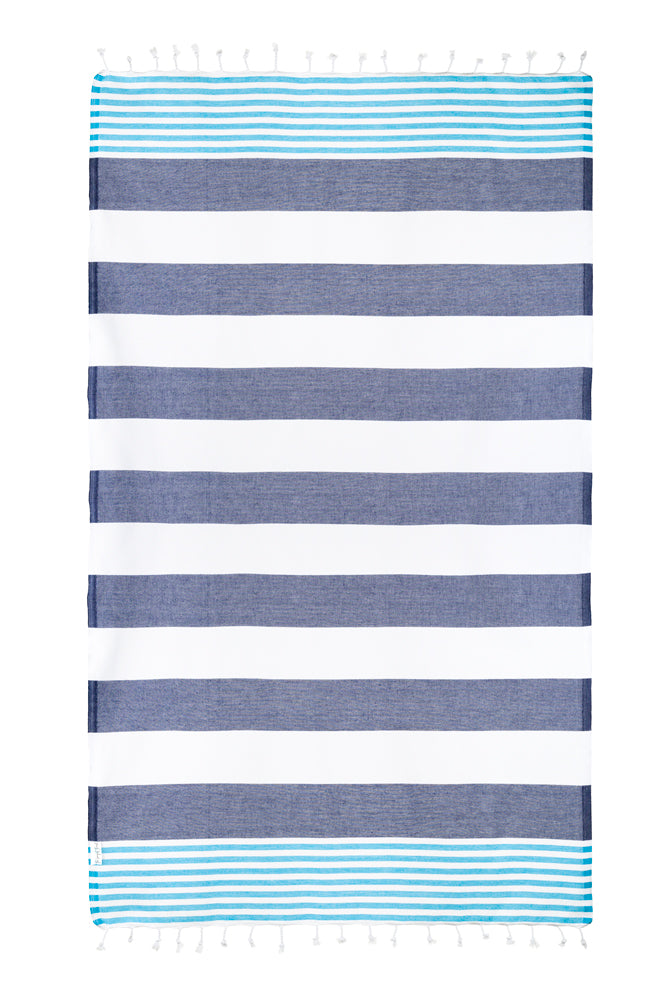Nautical Turquoise/Navy Turkish Towel