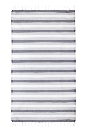 Rugby Black/Gray Turkish Towel