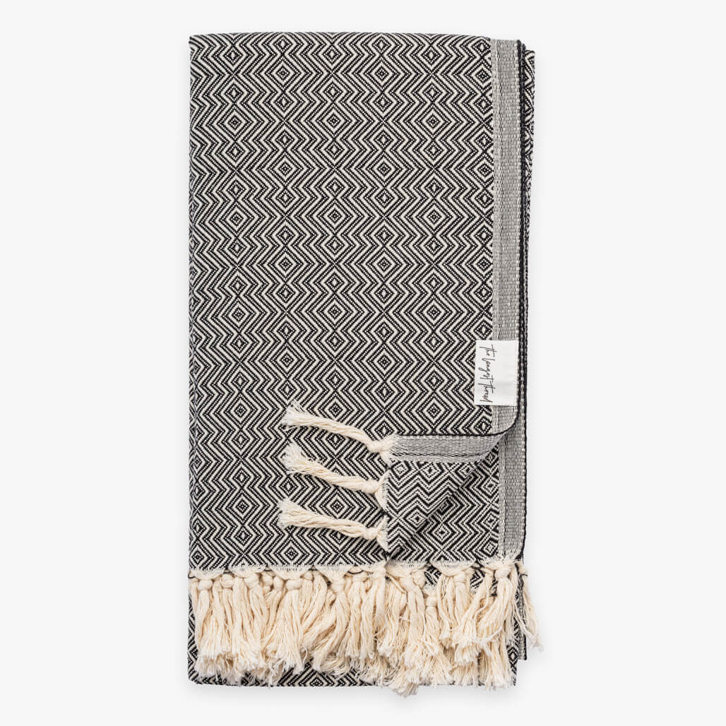 Sahel Black Turkish Towel Image 1