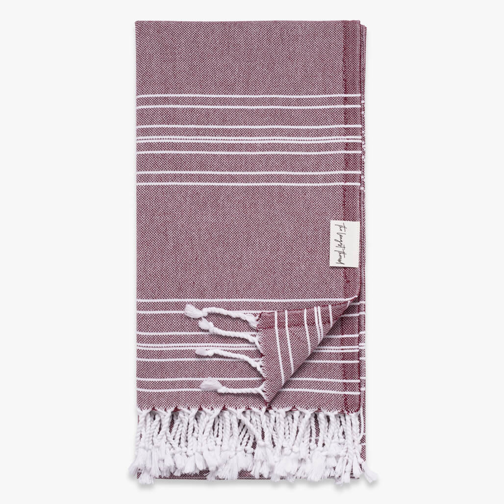 Saltwater Burgundy Turkish Towel