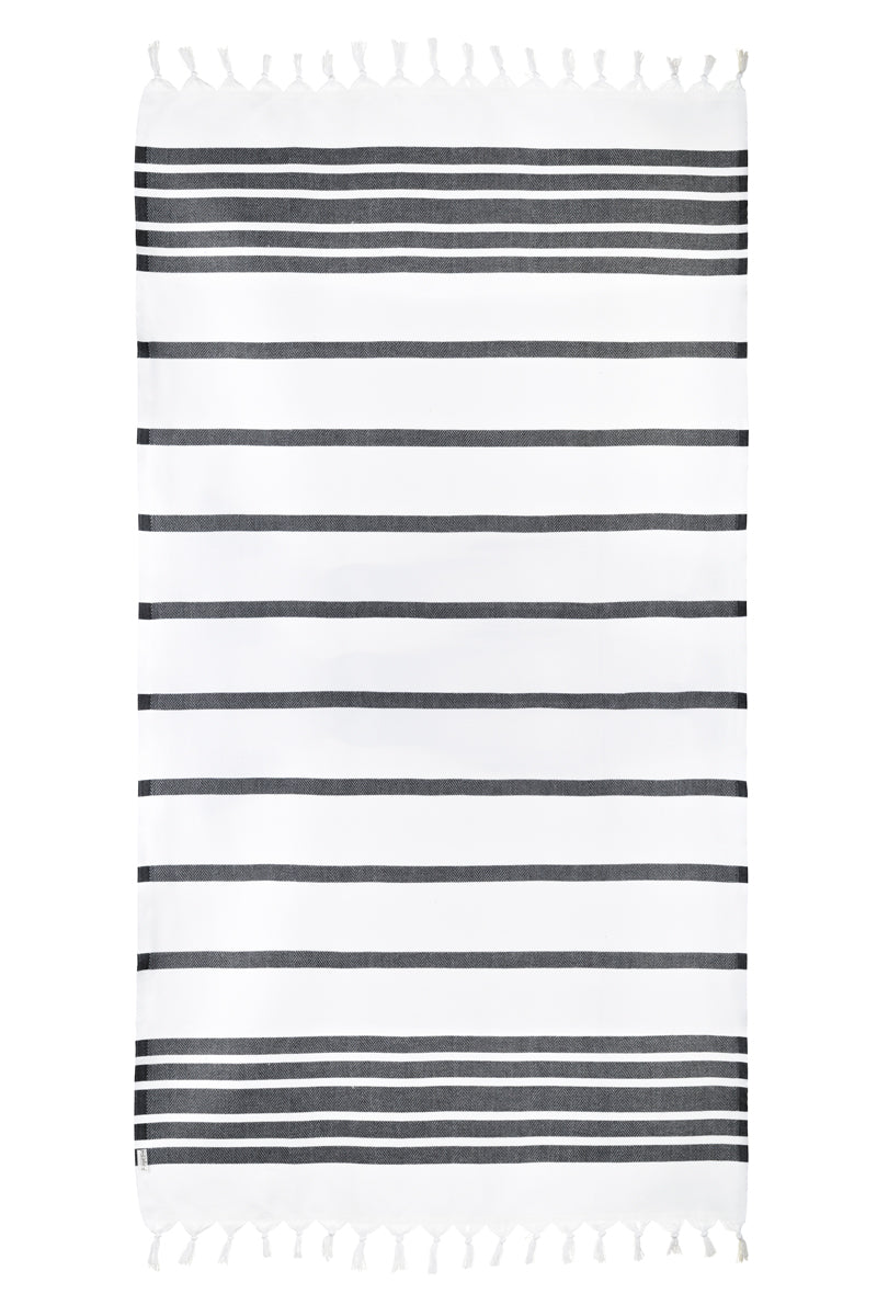 Spa White/Black Turkish Towel