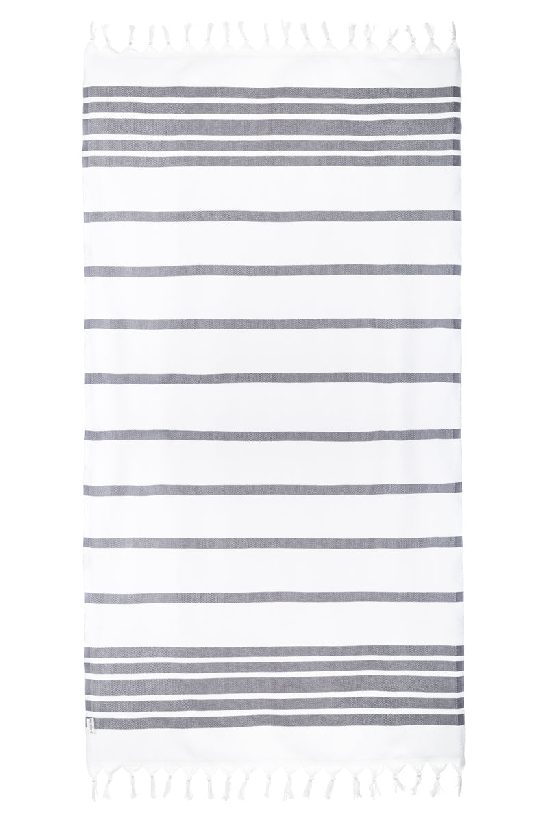 Spa White/Dark Gray Turkish Towel