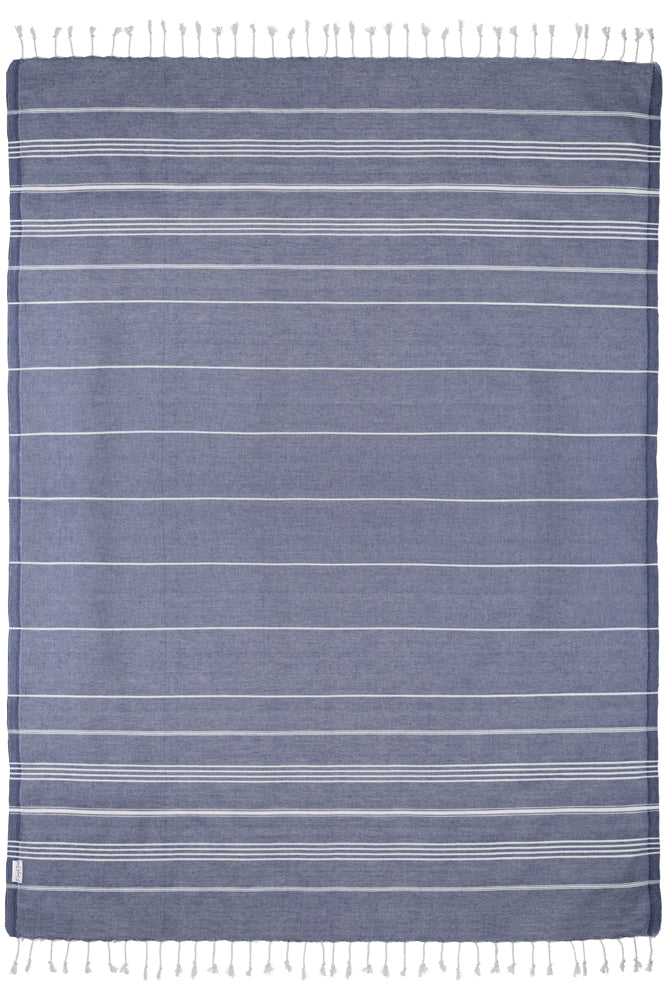 Oversized Basic Navy Turkish Towel - Beach Towel for Two