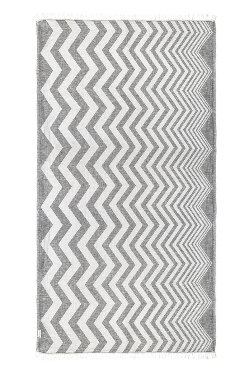 ZigZag Dark Gray Turkish Towel