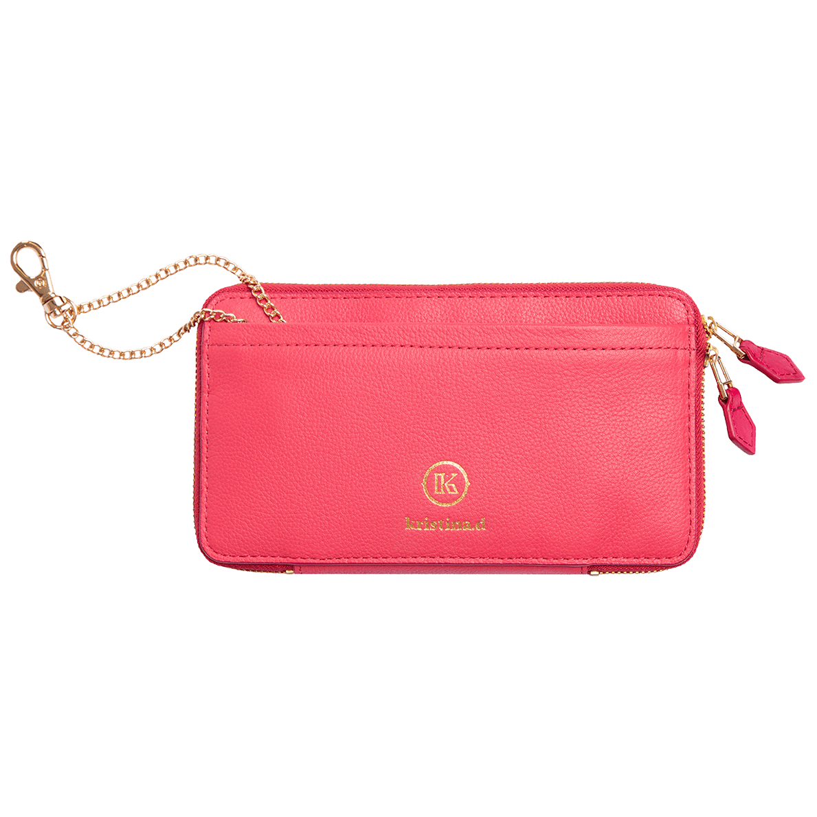 Front view of kristina.d luxury pink leather JULIAN Belt Bag Convertible Wallet with gold chain
