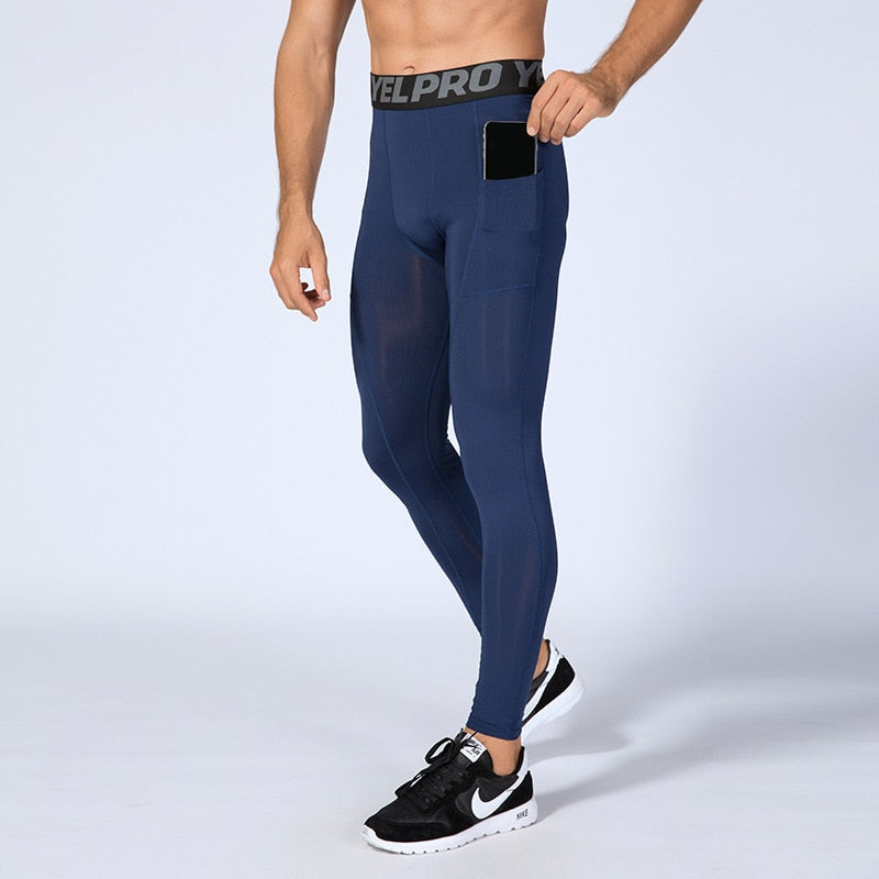 Men Compression Running Pants With Pocket