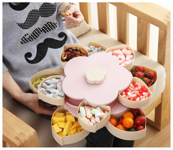 Flower Design Plastic Snack Candy Box Basketie