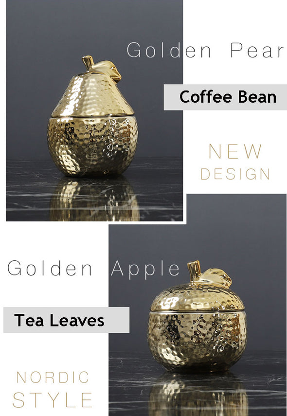 Gold Pineapple Ceramic Sealing Jar Kitchen Basketie