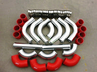 "3"" 76mm aluminum universal Intercooler Turbo Piping pipe & RED hose & Clamps"
