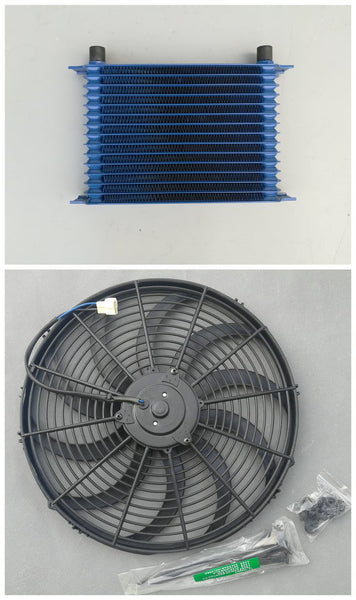 "262mm Blue Aluminum Universal 15 Row Engine Transmission AN10 10-AN Mocal Style Oil Cooler + 7"" Electric Fan Kit"