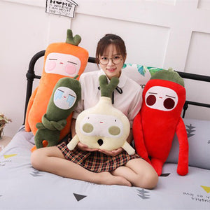 Cartoon Fruit and Vegetable Plush Toy Sofa Pillow Home Decor Kids Sleeping Toys Holiday Gifts Cucumber Red Pepper Garlic Carrot