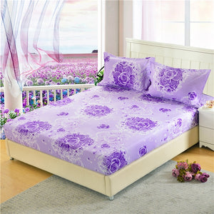 LAGMTA 1pc 100% Polyester Priting Mattress Cover Sheet Four Corners With Elastic Fitted Sheet Pillowcase