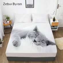 Load image into Gallery viewer, 3D Fitted Sheet,Bed Sheet With Elastic Queen/King/Custom,Mattress Cover 180/150*200/160x200 Animal pet Lazy cat
