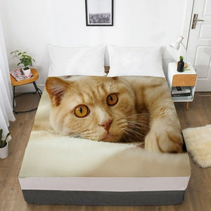 3D Fitted Sheet,Bed Sheet With Elastic Queen/King/Custom,Mattress Cover 180/150*200/160x200 Animal pet Lazy cat
