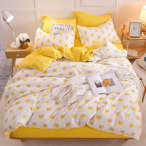 Yellow duck Soft comfortable 4pcs Bedding Set Bed Linen Bed Set Sheet Duvet Cover Pillowcase king queen full twin size
