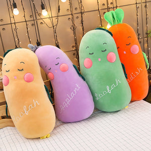 Multiple Styles Selected New Fruit Vegetables Soft Plush Toy Carrot Eggplant Cucumber Stuffed Plush Doll Toy for Kids Children