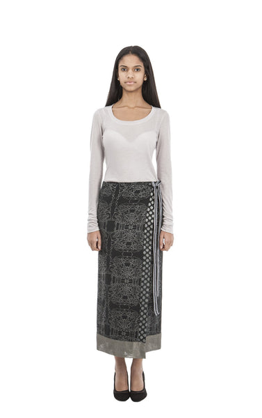 Cal Wrap Skirt I Black Print