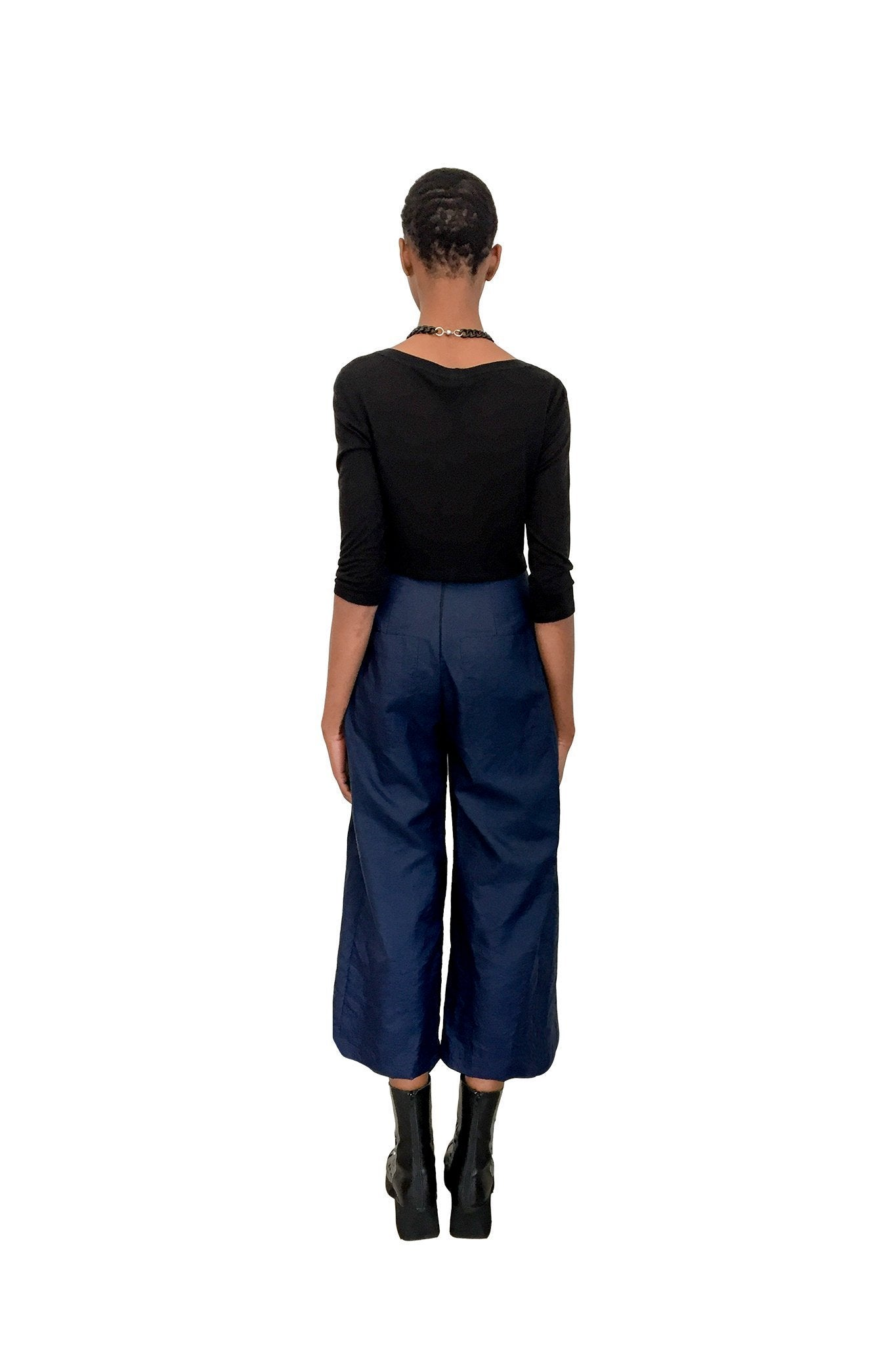 Swag High-Waisted Pant I Navy Crinkle