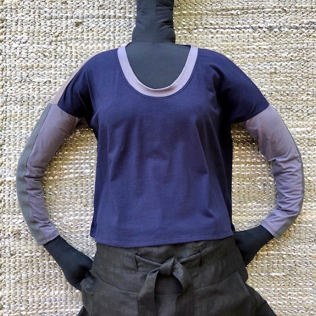 Free the World  - Organic Knit Top - Sand / Grey Lavender with beaded/sequinned vintage Annie logo on back