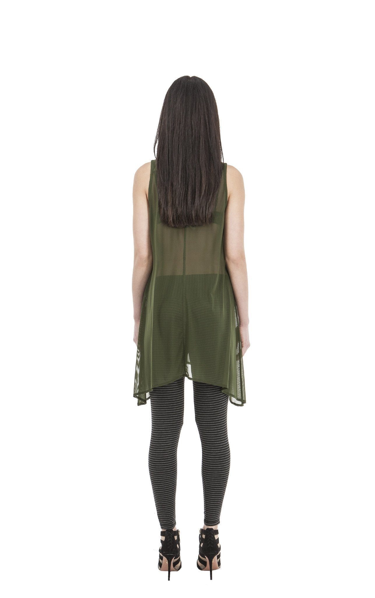 New Netty Betty Long Sheer Top | Olive