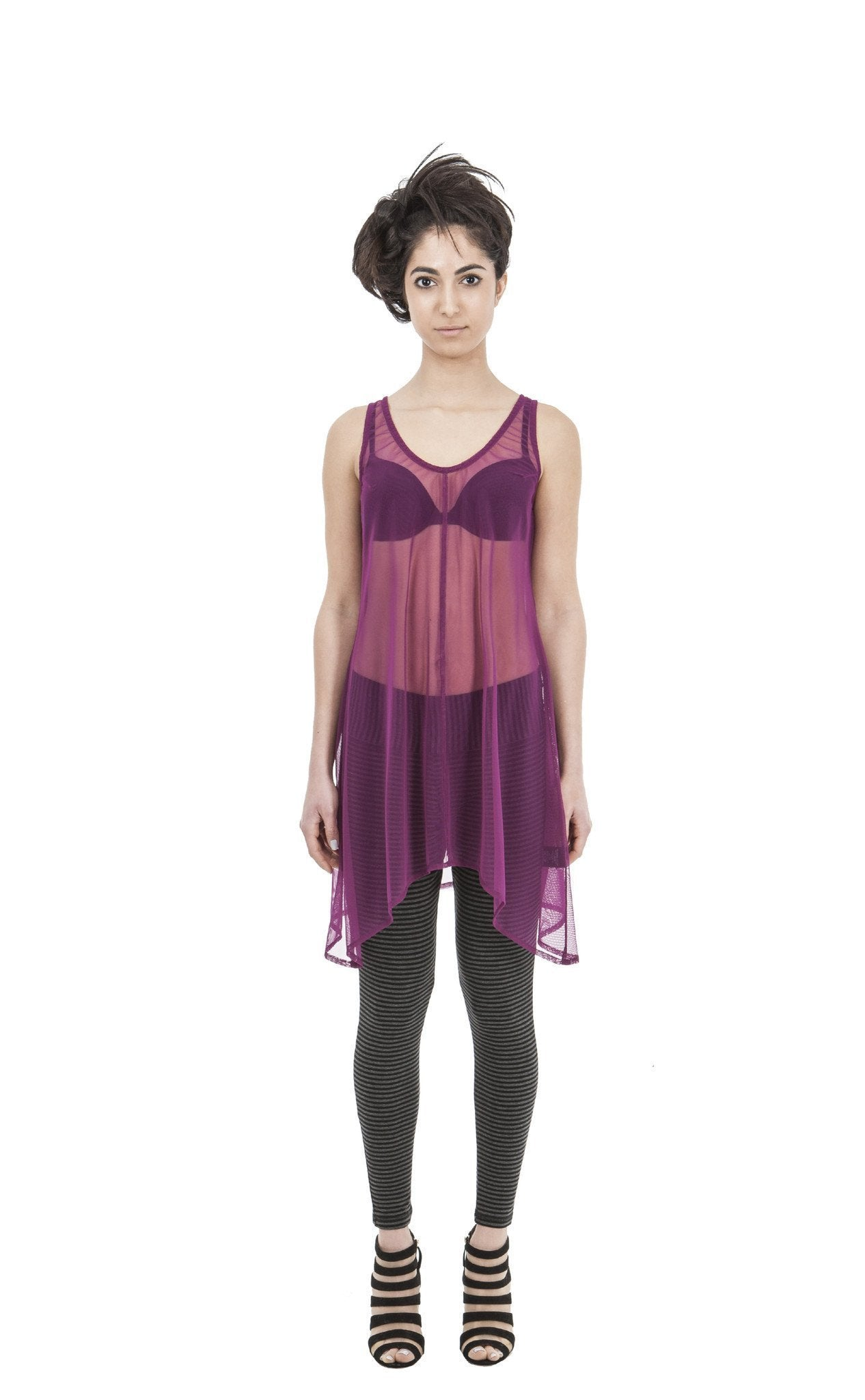 New Netty Betty Long Sheer Top | Raspberry Orchid