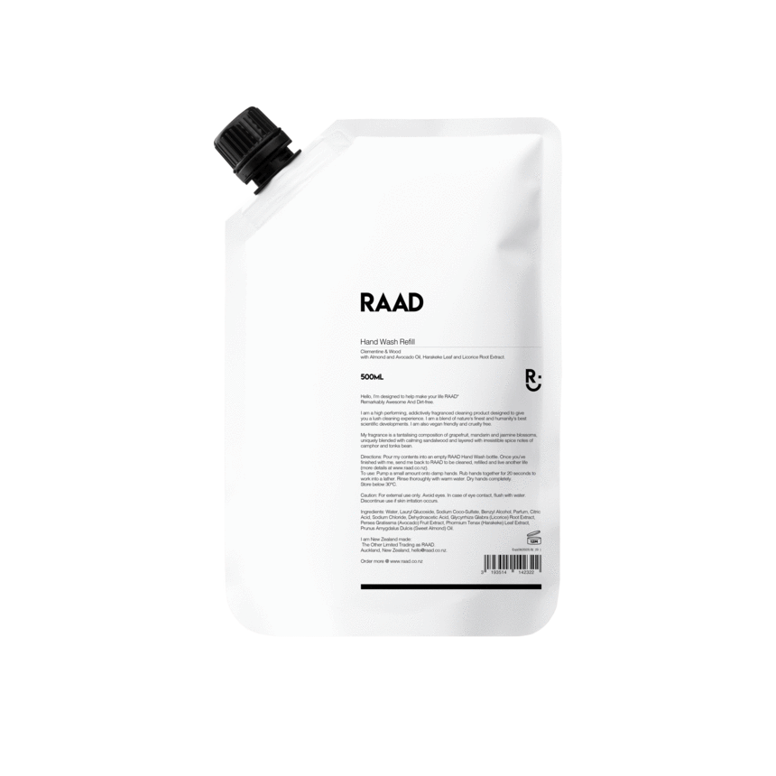 RAAD Clementine & Wood Hand Wash Refill 500ml