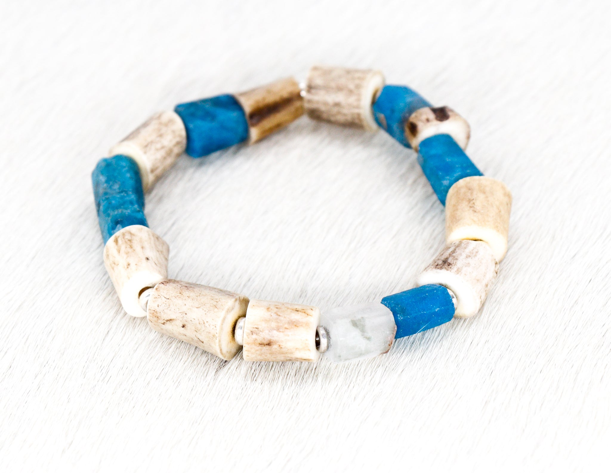 Apatite and shed antler horn bracelet