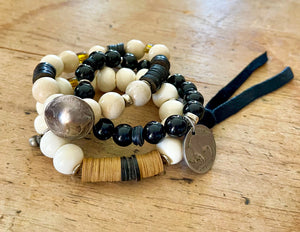 SKO Buffs coordinating bracelet with cream natural beads, African vinyl and coconut