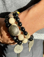 "Load image into Gallery viewer, SKO Buffs bracelet with tourmaline and a"" buffalo nickel"" coin"