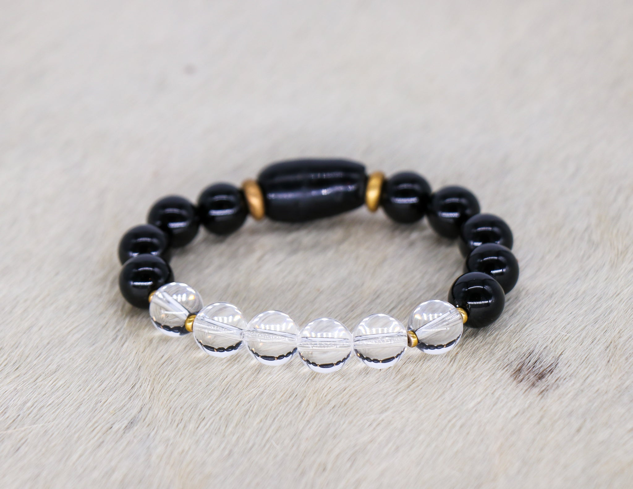 South African onyx with crystal quartz bracelet