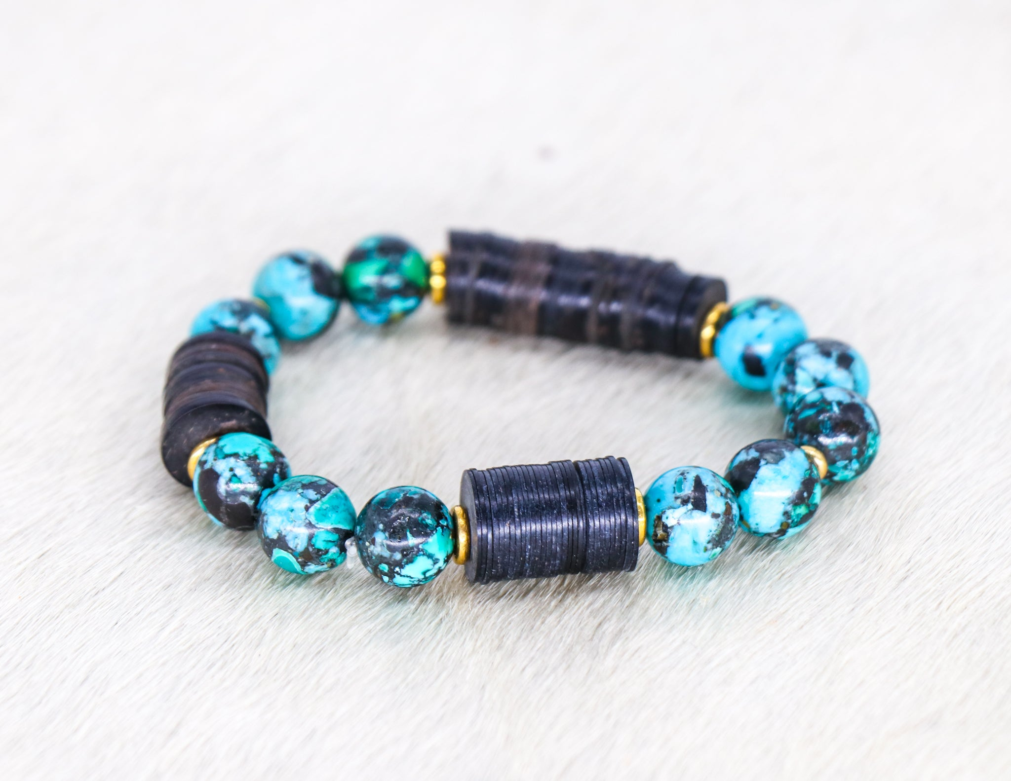 Turquoise with coconut and brass bracelet