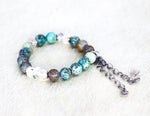 Load image into Gallery viewer, African turquoise, lodolite with silver tassel bracelet